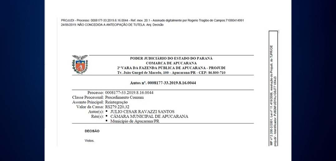 Juiz nega liminar para reintegrar servidor demitido do Legislativo de Apucarana