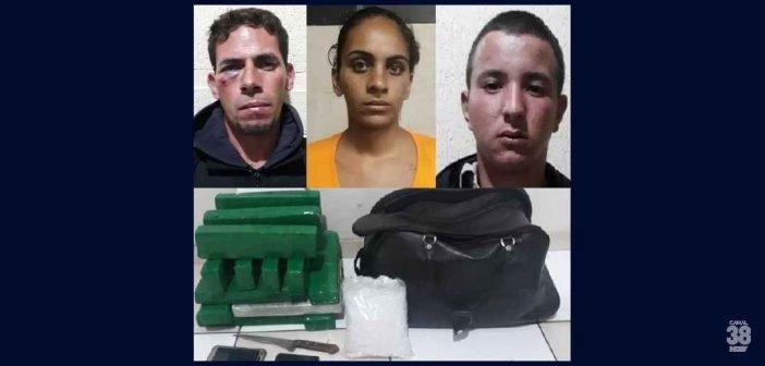 Operação da PM prende três pessoas e apreende 17 quilos de drogas em Apucarana