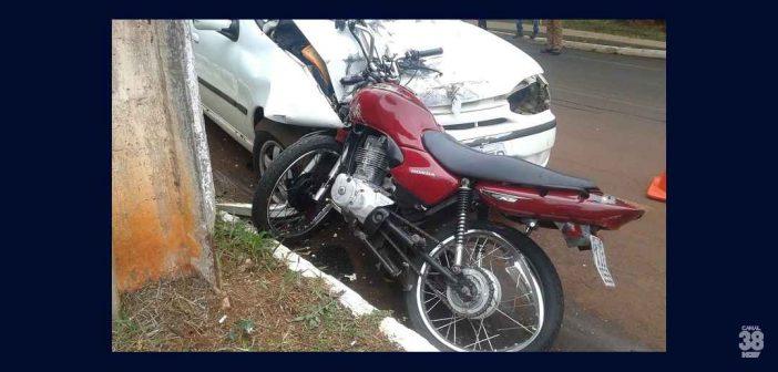 Motociclista fica gravemente ferido após colisão frontal com carro no Jaboti em Apucarana